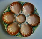 ANTIQUE FRENCH MAJOLICA OYSTER PLATE SIGNED