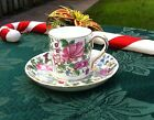 VINTAGE CROWN STAFFORDSHIRE DEMITASSE CHINTZ CUP & SAUCER THOUSAND FLOWERS F7117