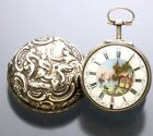 Verge Fusee Repousse Silver Pair Case Fancy Dial Gent's Pocket Watch with Key