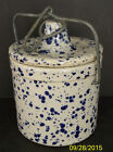 Vintage Blue Speckle Ceramic Stoneware Crock Butter Cheese Jar Locking Wire Lid