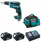 MAKITA 18V DFS452 DRYWALL SCREWDRIVER 2 BL1830 BATTERIES DC18RC CHARGER