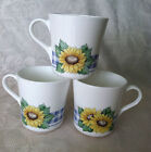 3 Corning Corelle Sunsations Cups 1996-97 Sunflower Blue Gingham USA Made