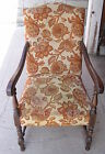 VINTAGE EARLY 1900'S FRENCH-STYLE HIGHBACK UPHOLSTERED ARM CHAIR-FLORAL PATTERN