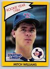 1990  MITCH WILLIAMS - Kenner Starting Lineup Card - Texas Rangers  (YELLOW)