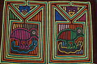 Kuna Mola Hand stitched Applique Folk Art Bird Hunt Snake Devil looks on 60B Art