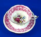Pink Rose Edge Design with Floral Bouquet Paragon Tea Cup and Saucer Set