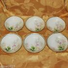 ANTIQUE RS GERMANY FRUIT DESSERT BOWLS SET OF 6 HAND PAINTED PINK FLOWERS