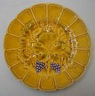 Antique majolica dessert plate with grapes and vine leaves -Sarreguemines 1930