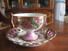 saucer on foot  Shafford hand decorated Japan pink