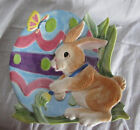 Fitz and Floyd Easter Painting Eggs Canape Desert Snack Plate Bunny
