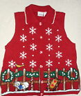 JASON MAXWELL RED HRISTMAS SWEATER VEST SNOWFLAKES & SHEEP SIZE M EUC