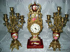 VG ITALIAN BRASS/BRONZE ROYAL RED MAROON FRAGONARD PORCELAIN CLOCK PR CANDELABRA
