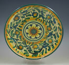 SICILY CALTAGIRONE CERAMICS ITALY SMALL PLATE, YELLOW-GREEN, FLOWERS