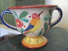 Vintage Pottery Vase Urn, Made in Italy, Bird and Flower Design