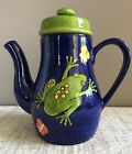 Laurie Gates Whimsy Pond Coffee Pot Tea Cobalt Blue Green Frog Butterfly 64oz