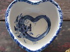 VINTAGE CASEY POTTERY-MARSHALL TEXAS LARGE HEART SHAPED SPONGEWARE TRIM BOWL