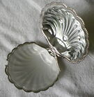 Silverplate Clam Shell Butter Dish, Glass Tray, marked