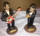 BEAUTIFUL Black Figurines 2 Jazz Band Players 6 Inches Tall