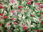 Vintage Cotton Fabric Red Rooster Tuscany flower leaf Nice 1 yard + 32