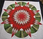 Lone Star  Wreath Quilt Top Squared White sewn 64X64 Christmas Star