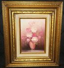 Robert Cox (1934-2001) Original Oil Painting Flowers Pink Roses - Signed
