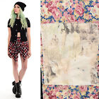 Vtg 90s Black Denim GRUNGE Lace Floral HOLE Band Patch Crop Jean Vest Jacket Top