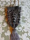 Antique Victorian 1920s Glass Beaded Ornate Flapper Purse Evening Bag Silver