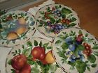 Sakura Oneida Sonoma Excell FOUR Fruit 8 1/2'' Salad Plates Grapes, Pear, plums