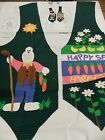 HAPPY SPRING Easter type fabric panel to make fun vest BUNNY flowers