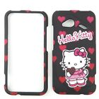 Black Heart Hello Kitt Protector Faceplate Case FOR HTC Incredible 4G LTE