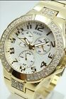 Guess Women's Goldtone Crystal Rhinestones Multi-Function Chronograph Watch