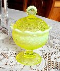 FENTON LG WRIGHT VASELINE OPALESCENT DAISY BLOCK 6 FOOTED COMPOTE 1960S MINT