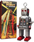 SPARKY ROBOT SPACE TOY MECHANICAL WINDUP TIN TOY SILVER - FREE SHIPPING!