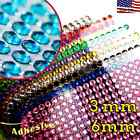 3mm 6mm Self Adhesive RHINESTONE Crystal Stickers Sheet FREE USA SHIPPING