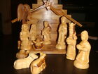OLIVE WOOD NATIVITY SCENE SET HAND CARVE SOUVENIR FROM THE HOLY LAND
