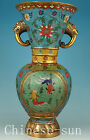 Boble Big Infrequent Chinese Old Cloisonne Bronze Hand Carved Fish Statue Vase