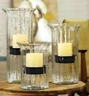 Ribbed Glass Hurricane Candle Holder Set Candleholder Rustic Metal Inserts Set 3