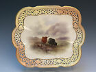 Stunning Royal Worcester Reticulated Tray Highland Cattle signed Stinton c1906