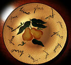 Large Hand Painted Round Platter with Pears - Pears Written In 12 Languages