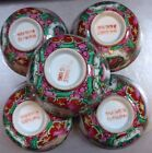 5 PC Hand-painted Rose Medallion HONG KONG Porcelain Rice/Soup Bowls MID CENTURY