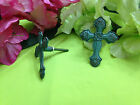 NEW SET OF 4 TURQUOISE METAL CROSS CABINET DRAWER DRESSER PULL KNOBS.