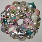 Vintage PINK Christmas ornament wreath 16 Inch Germany Glass 16515 Shiny Brite
