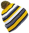 Best Winter Hats Quality Variegated Cuffed Cap W/Large Pom #788 Black/Gold
