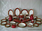 98 PC VTG GERMAN REICHENBACH FINE CHINA PORCELAIN ROYAL RED GOLD SET FOR 12 RARE