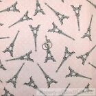 BonEful FABRIC FQ Cotton Quilt Pink White Dot Gray Eiffel Tower France Country S