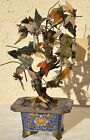 Antique Chinese Asian Oriental Carved Jade Leaf Flower Tree w/ Cloisonne Planter