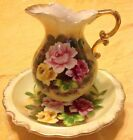 Vintage Enesco Japan Miniature Pitcher With Under Plate Painted Rose Gold Trim