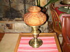 BEAUTIFUL VINTAGE GONE WITH THE WIND HURRICANE BRASS LAMP W AMBER GLASS SHADE
