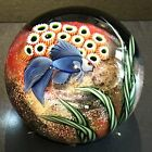 FLUME Large BLUE CRYSTAL CASED BETA FISH Paperweight LE BEYERS