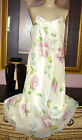 VTG. VALERIE STEVENS DBL CHIFFON OVER SILKY SATIN FLORAL NIGHTGOWN SIZE M *B 40
